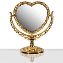 Espelho De Mesa Coração Dourado Com Lente De Aumento 5x