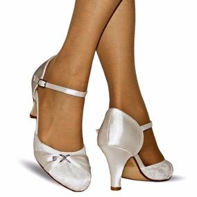 Zapatos De Novia De Encaje Y Raso