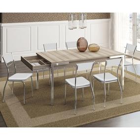 Mesa 1529 Nogueira Com Gaveta Cromada Com 6 Cadeiras 1701 Br