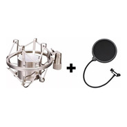 Kit Shock Mount Aranha Microfone Prata + Tela Pop Filter