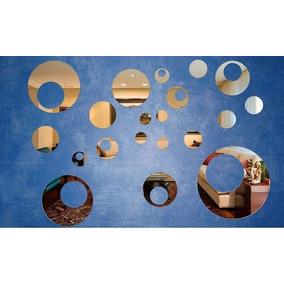 Kit Com 16 Espelhos Decorativos Casa Sala - Bolas Furadas