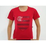 Camiseta Baby Look 100% Algodão Estampa Strass Flamengo