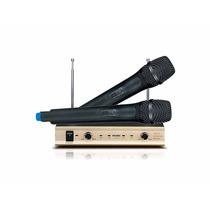 Microfone Sem Fio Duplo Vhf Com Duas Antenas E Dois Volumes