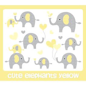 Kit Imprimible Imagenes Elefantes Amarillo Gris Baby Shower