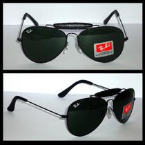 Oculos De Sol 3422q Caçador Preto Lentes Verdes 58mm