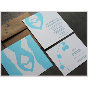 Invitación Boda Diseño Con Sobre Kraft Paquete De 10 Piezas