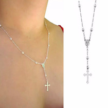 Corrente Colar Terço Crucifixo Prata 925 Feminino 45 Cm