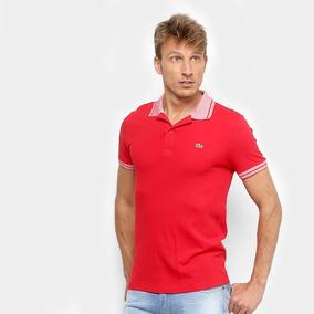 Camisa Polo Lacoste Piquet Frisos Masculina - Vermelho E Bra de32c1ee1f9fd