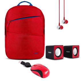 Kit T2go Pro Rojo (mochila, Mouse, Bocina Y Audífonos)