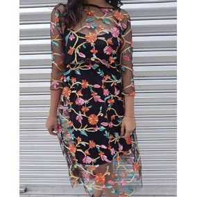 Vestido Fresco Flores Bordado Mexicano Transparencia Mesh