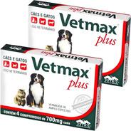 Vermífugo Vetmax Plus Vetnil 700mg Cães Gatos 2 Caixas