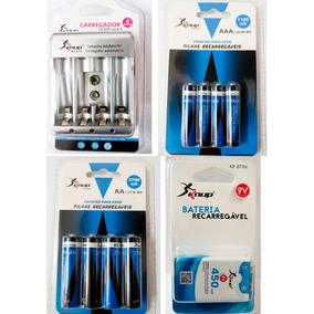 Kit Knup Carregador + 4pilhas Aaa 110 +4 Aa 2700+bateria 9v