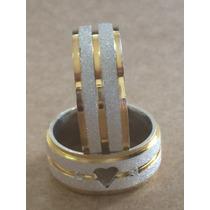 Par De Alianças Namoro Prata 950 C/ Ouro - Coração Vazado