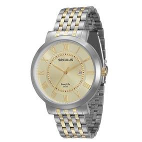 569cc131314 Relógio Seculus Lançamento Prata E Dourado 24760lps2 - Relógios De ...