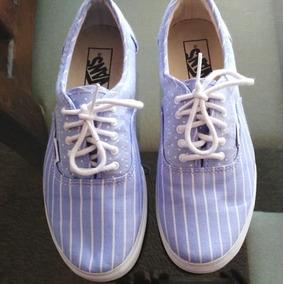 Tenis Vans Azul Claro Con Rayas Blancas - Dama b8cc9a51c9e
