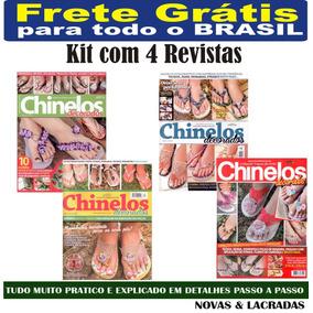 Kit 4 Revista Chinelos Decorados Artesanato - Frete Grátis