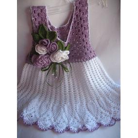 Vestido Tejido A Crochet Para Niña 2-4 Años
