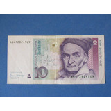 Billete Alemania 10 Mark Zehn Deutches Año 1989 Escaso