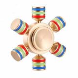 Fidget Spinner Metalico Pesado Dorado Hexagonal Con Estuche