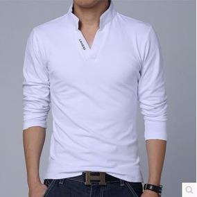 Camisa Masculina Casual Manga Longa Gola Polo De Algodão