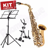 Kit Saxofone Alto Sa500 Ln Eagle Mib Case Rígido Partitura