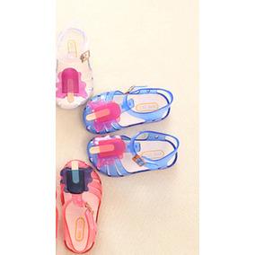 Sandalias Plásticas Azules Para Niña Talla 24