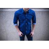 Camisa Con Estampado Elastizada Entallada Al Cuerpo Algodón