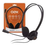 Fone De Ouvido Com Microfone Oex Headset 30mm Hs100 Preto