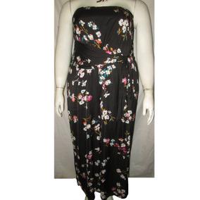 Palazzo Jumpsuit Strapless Negro Estampado Floral Talla 3x