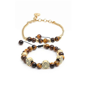 Kit Pulseira Mandala Dourada Pedra Natural Olho Tigre Mtn