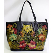 Bolsa Con Flores De Piel Para Mujer (n° 1338)