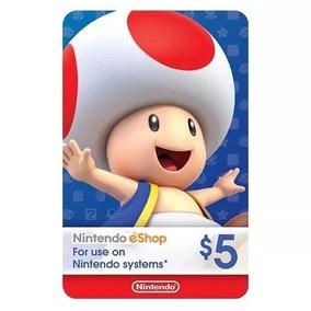 Cartão Nintendo 3ds Switch Wii U Cash Eshop Card 5 Dolares