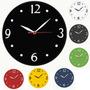 Relógio De Parede Preto - Verde - Cinza - Vermelho - Amarelo