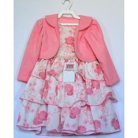 Vestido Infantil Com Bolero Festa E Casual Lindo