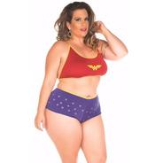 Mini Fantasia Sensual Mulher Maravilha Sexy Plus Size
