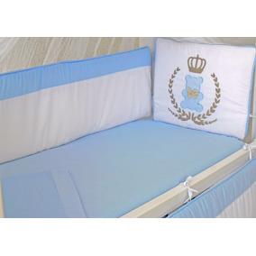 Kit Mini Berço Urso Rei Azul Bebe 9 Pçs Canaa 100% Algodão