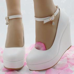 Zapatos Novia Cuña Con Plataforma Nuevos 37 Al 40