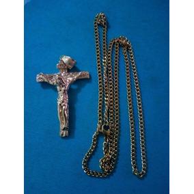 Cadena Collar Acero Inox Dije Cristo Crucifijo Valbar