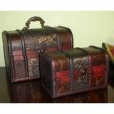 set bales de madera smil cuero repujado y tela antiguo
