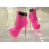 Bota Estilo Timberland Pink Feminina Salto 15cm