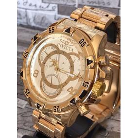Relógio Masculino Prata Dourado Branco + Caixa Relogio Top