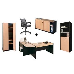 Combo Oficina Escritorio + Silla + Bibliotecas