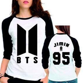 Camiseta Bts Bangtan Boys Novo Logo Jimin 95 Babylook 3/4