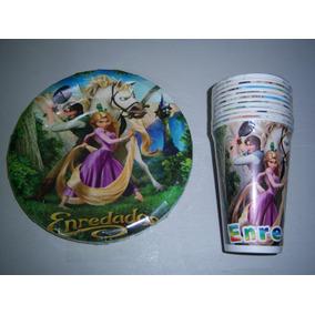 Invitaciones Platos Vasos Dulceros Fiesta Rapunzel Enredados