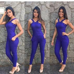 Macacão Longo C/ Ilhoes E Lycra Moda Feminina Mulher Garota