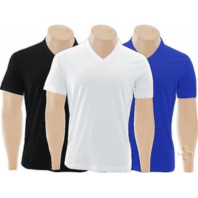 Kit C/5 Camisetas Gola V Rasa Lisa Básica Camisa Gola V