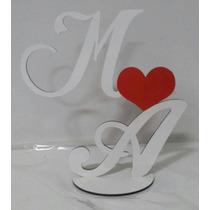 Topo De Bolo Personalizadas Para Casamento, Iniciais Em Mdf
