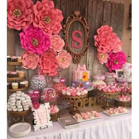 10 Flores De Papel Decoración Eventos, Bautismos, Cumpleaños