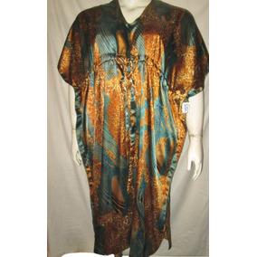 Vestido Tipo Tunica Oro/azul Animal Print Unitalla 2x-3x-4x-