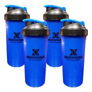 Kit Com 4 Coqueteleiras Azul 700ml Extreme Nutrition